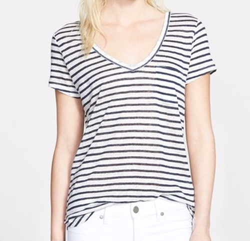 'Lynnea' Stripe V-Neck Pocket Tee by Paige in Rosewood