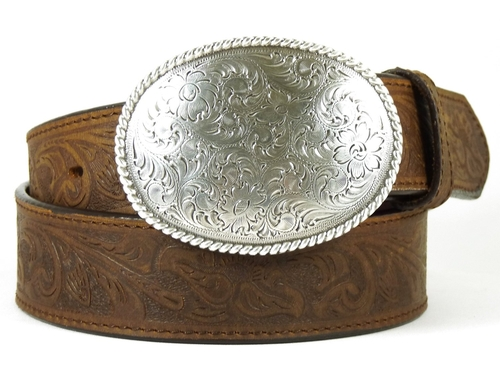 Oval Tooled Buckle Leather Belt by Double S in Everybody Wants Some