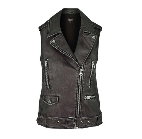 Sleeveless Faux Leather Biker Jacket by Topshop in Pretty Little Liars - Season 6 Episode 20