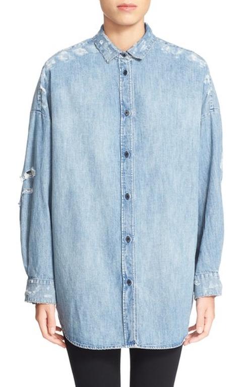 Emira Distressed Oversize Denim Shirt by Iro in Keeping Up With The Kardashians - Season 12 Episode 7