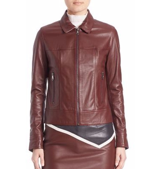 Bordeaux Collared Leather Jacket by Sonia by Sonia Rykiel in Once Upon a Time - Season 6 Episode 1
