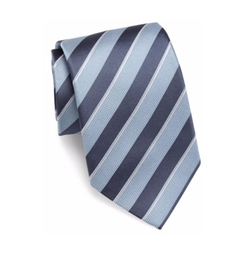 Two-Toned Striped Slim Silk Tie by Giorgio Armani in Ballers