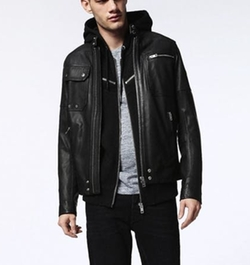 L-Ride Leather Jacket by Diesel in Animal Kingdom