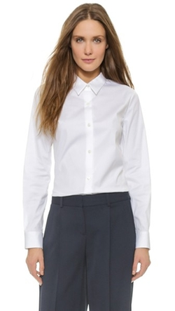 Luxe Tenia Button Down Blouse by Theory in Suits