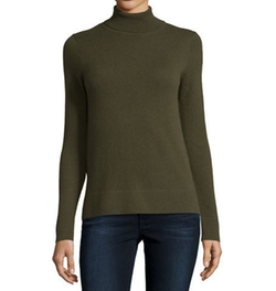 Modern Cashmere Turtleneck Sweater by Neiman Marcus Cashmere Collection in Atomic Blonde