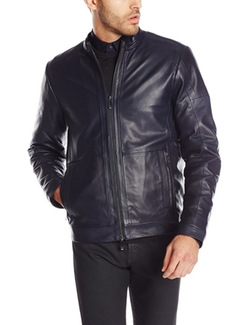 Men's Premium Leather Moto Jacket by Calvin Klein in Blow