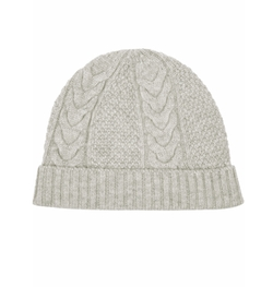 Cable-Knit Beanie Hat by N. Peal Cashmere in Elementary