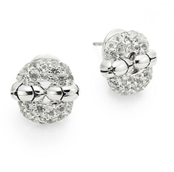 Kali White Topaz & Sterling Silver Button Earrings by John Hardy in Burnt