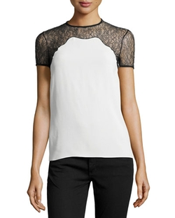 Lace-Trim Short-Sleeve Shell Top by Michael Kors Collection in Nashville