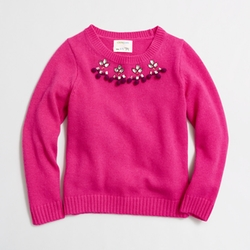 Factory Girls' Necklace Popover Sweater by J.Crew in Black-ish