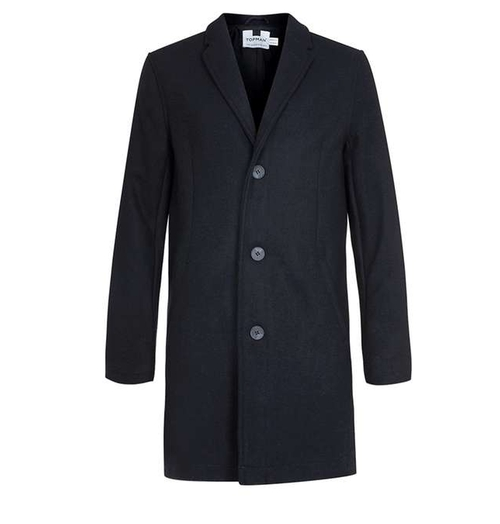 Wool Blend Overcoat by Topman in Snowden
