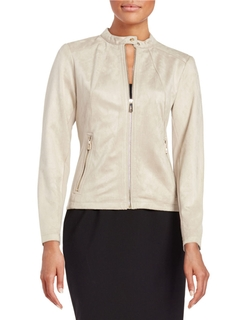 Faux Suede Bomber Jacket by Ivanka Trump in The Good Wife