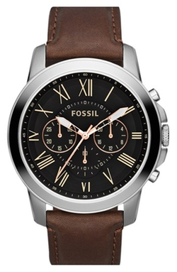 'Grant' Round Chronograph Leather Strap Watch by Fossil in Pretty Little Liars