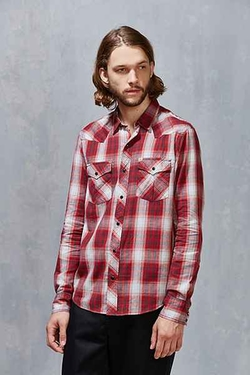 Salt Valley Shadow Plaid Western Button-Down Shirt by Urban Outfitters in The A-Team