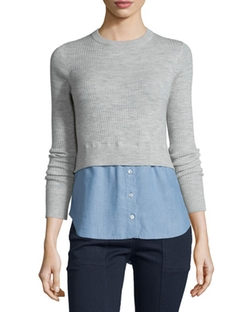 Cati Wool Shirttail Combo Sweater by Veronica Beard in Fuller House