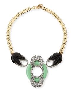 Moderne Enamel & Crystal Bib Necklace by Lulu Frost in Scream Queens