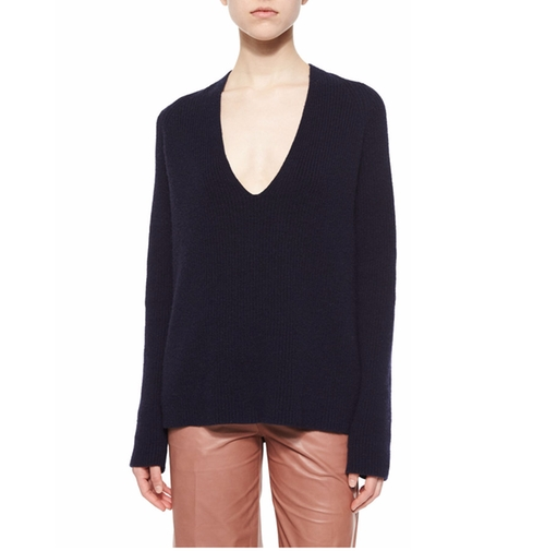 Ribbed V-Neck Merino/Cashmere Sweater by Helmut Lang in Why Him?