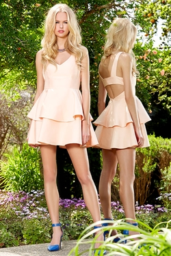 Ruffles and Truffles Peach Skater Dress by Lulu*s in Scream Queens