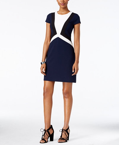 Crepe Colorblocked Sheath Dress by Vince Camuto in Billions