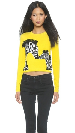 Khan Zebra Love Cropped Sweater by Alice + Olivia in Pretty Little Liars