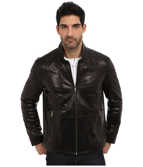 Leather Stand Collar Jacket by Andrew Marc X Richard Chai in Scandal