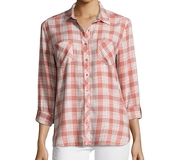 Lilya Plaid Button-Down Shirt by Soft Joie in New Girl