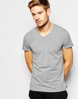 Logo V-Neck Slim Fit T-Shirt by Diesel in Quantico