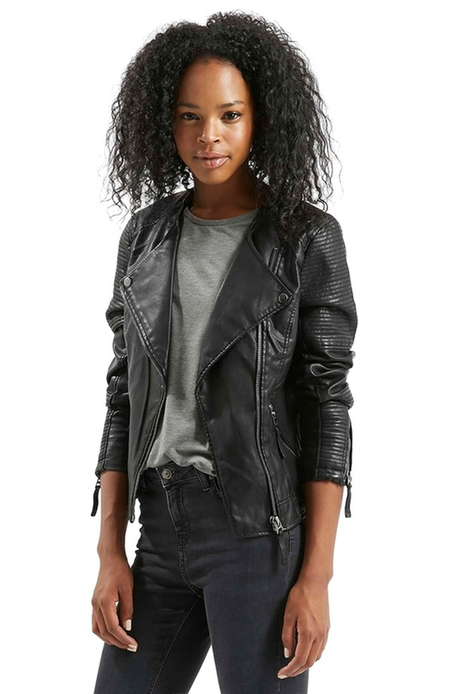 'Polly' Faux Leather Biker Jacket by Topshop in Supergirl