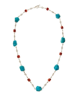 Turquoise & Red Agate Silver Necklace by Stephen Dweck in The Good Wife