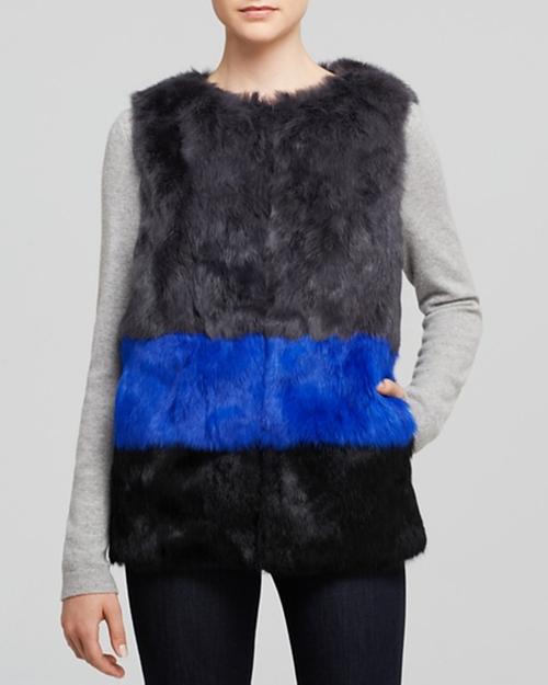 Long Hair Rabbit Fur Colorblocked Vest by Jocelyn in Pretty Little Liars - Season 6 Episode 15