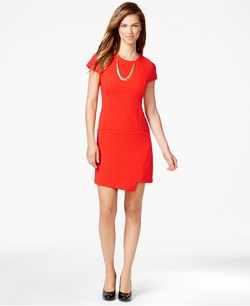 Ribbed Short-Sleeve Envelope Dress by Kensie in Ride Along 2