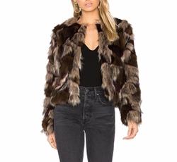 Harkin Faux Fur Coat by Tularosa in Empire