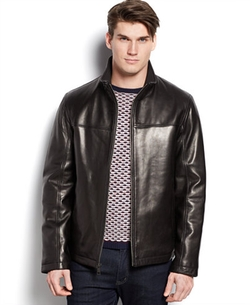 Stand-Collar Leather Jacket by Cole Haan in Bleed for This