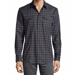 Check Long-Sleeve Sport Shirt by John Varvatos Star USA in Quantico