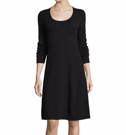 Cashmere Long-Sleeve Fit-&-Flare Dress by Magaschoni in Allied