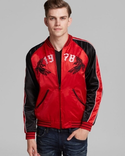 Red Bomber Jacket by Diesel in Pitch Perfect 2