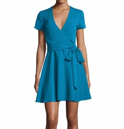 Adrianna Short-Sleeve Mock-Wrap Dress by Alice + Olivia in New Girl