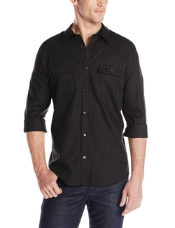 Woven Button-Front Shirt by Calvin Klein in MacGyver