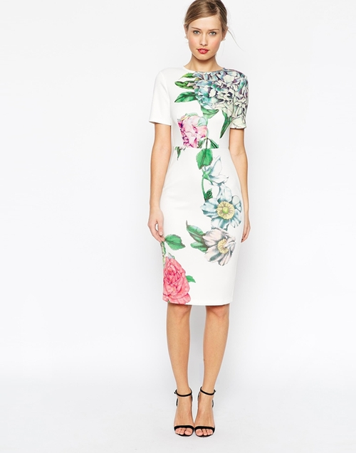 Premium Placed Crayon Floral Bodycon Dress by Asos in Scream Queens - Season 1 Episode 3