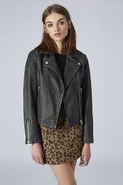 Authentic Washed Leather Biker Jacket by Topshop in Scream Queens