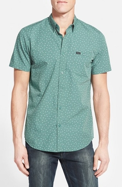 'Pox' Slim Fit Short Sleeve Print Poplin Woven Shirt by RVCA in Rock The Kasbah