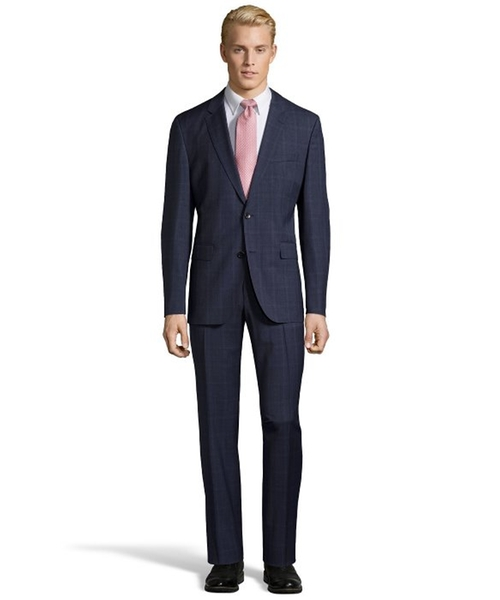 Muted Plaid Johnstons Lenon Suit by Hugo Boss in The Big Short