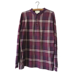 Plaid Henley Long Sleeve Shirt by Eddie Bauer in Silicon Valley
