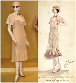 Custom Made Cream Caped Dress by Catherine Martin (Costume Designer) in The Great Gatsby