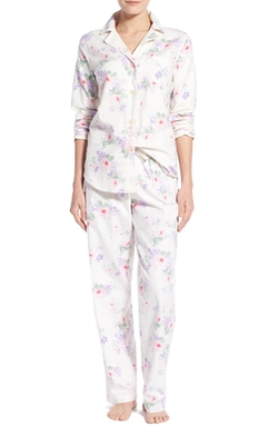 Print Brushed Twill Cotton Pajamas by Lauren Ralph Lauren in Quantico