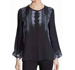 Sheri Lace Print Silk Blouse by Kobi Halperin in Billions