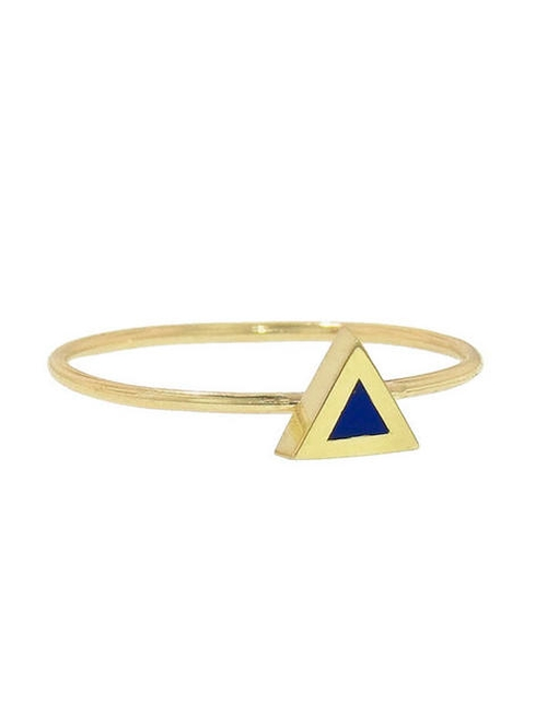 Lapis Inlay Triangle Ring by Jennifer Meyer in We Are Your Friends