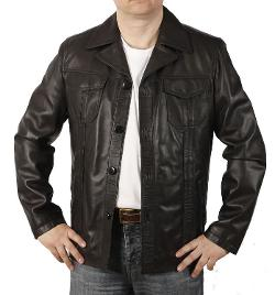 Men's Button Up Pocket Retro Leather Jacket by Simons Leather in Anchorman 2: The Legend Continues