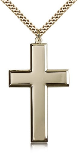 Cross Pendant Curb Chain Necklace by Bliss in Ballers