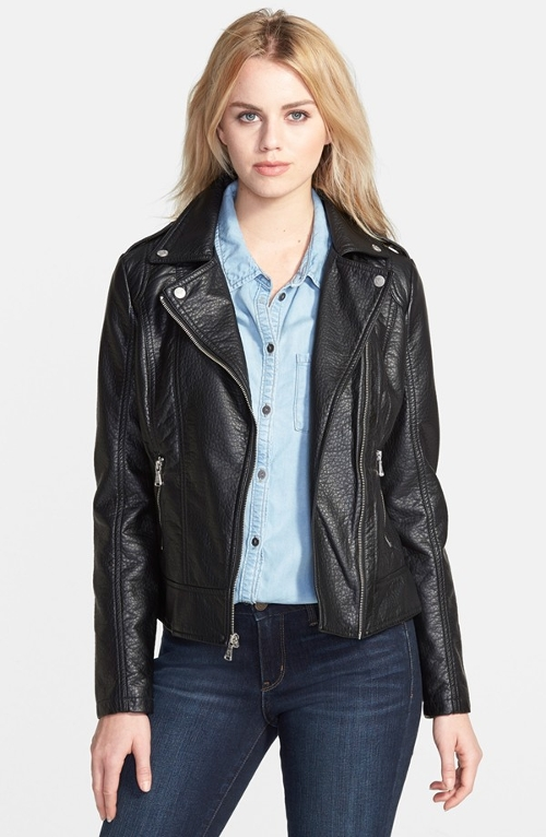 Shrunken Faux Leather Moto Jacket by Guess in Barely Lethal